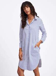 Curved Hem Stripe Shirt Dress