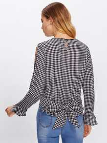 Open Shoulder Ruffle Cuff Gingham Blouse pictures
