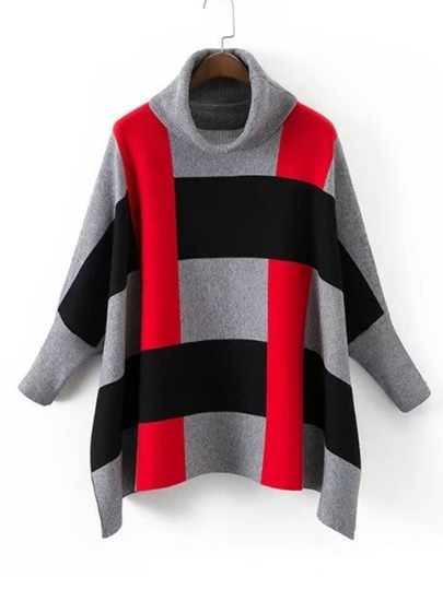 Block Striped Batwing Sleeve Turtleneck Sweater