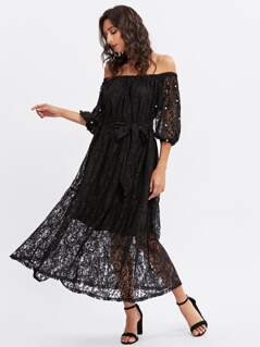 Pearl Beading Lantern Sleeve Lace Bardot Dress