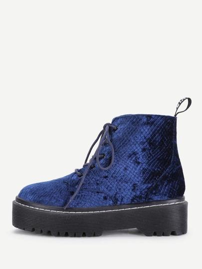 Lace Up Flatform Velvet Ankle Boots