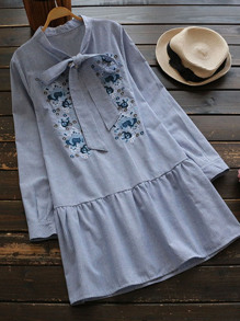 Bow Tie Neck Frill Hem Embroidery Pinstriped Dress