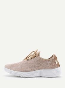 Chaussures de sport en velours à lacets
