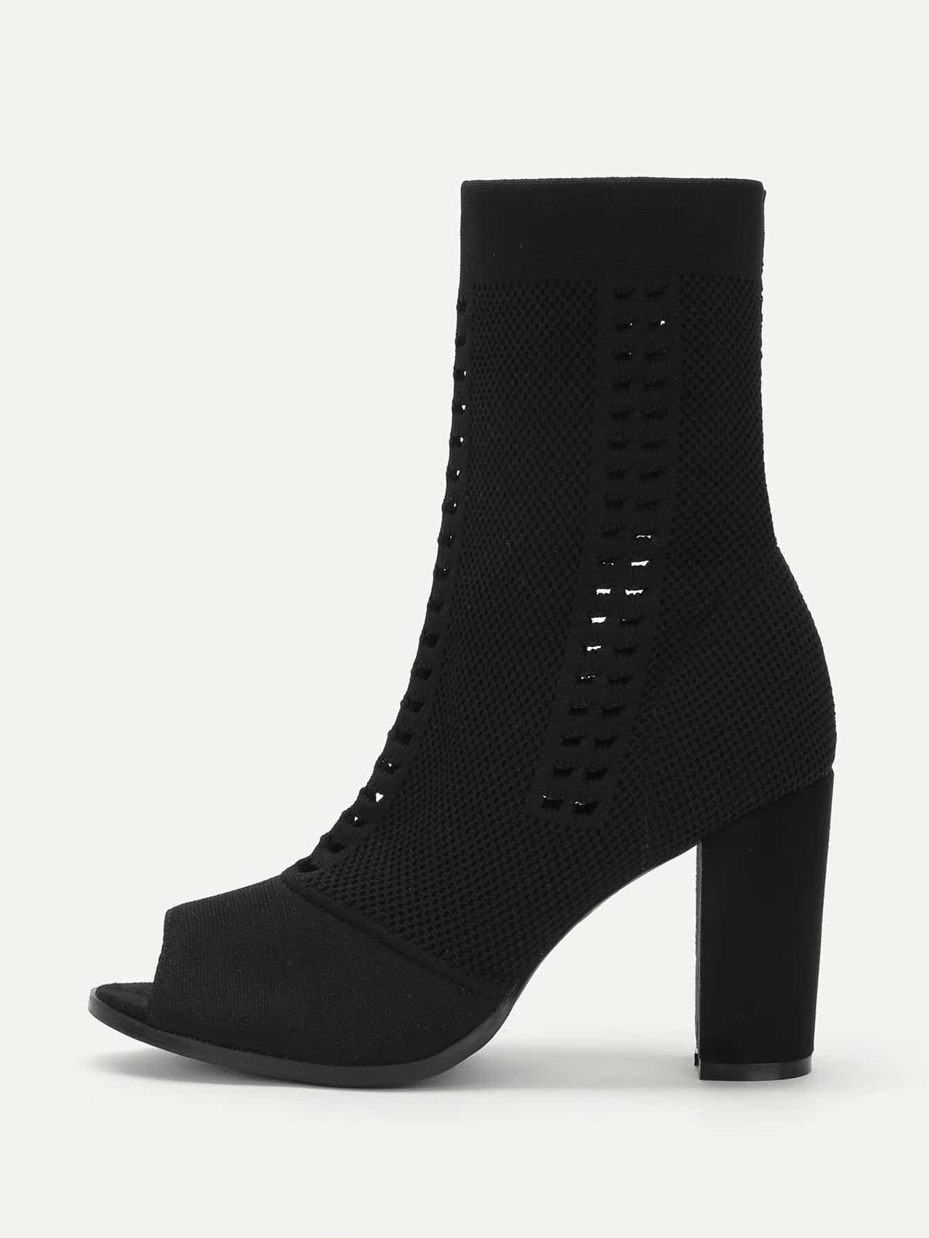 Купить со скидкой Cut Out Detail Peep Toe Block Heeled Boots