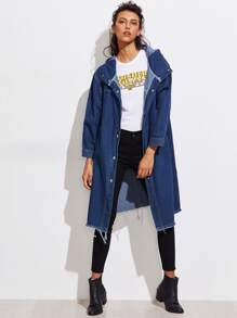 Frayed Hem Hooded Denim Coat