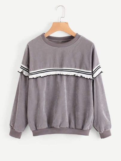 Stripe Tape Panel Frill Trim Corduroy Pullover