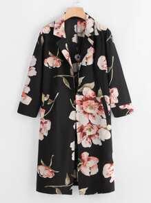Floral Print Random Long Coat