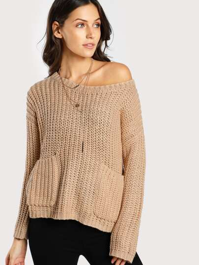 Ribbed Knit Front Pocket Sweater BLUSH