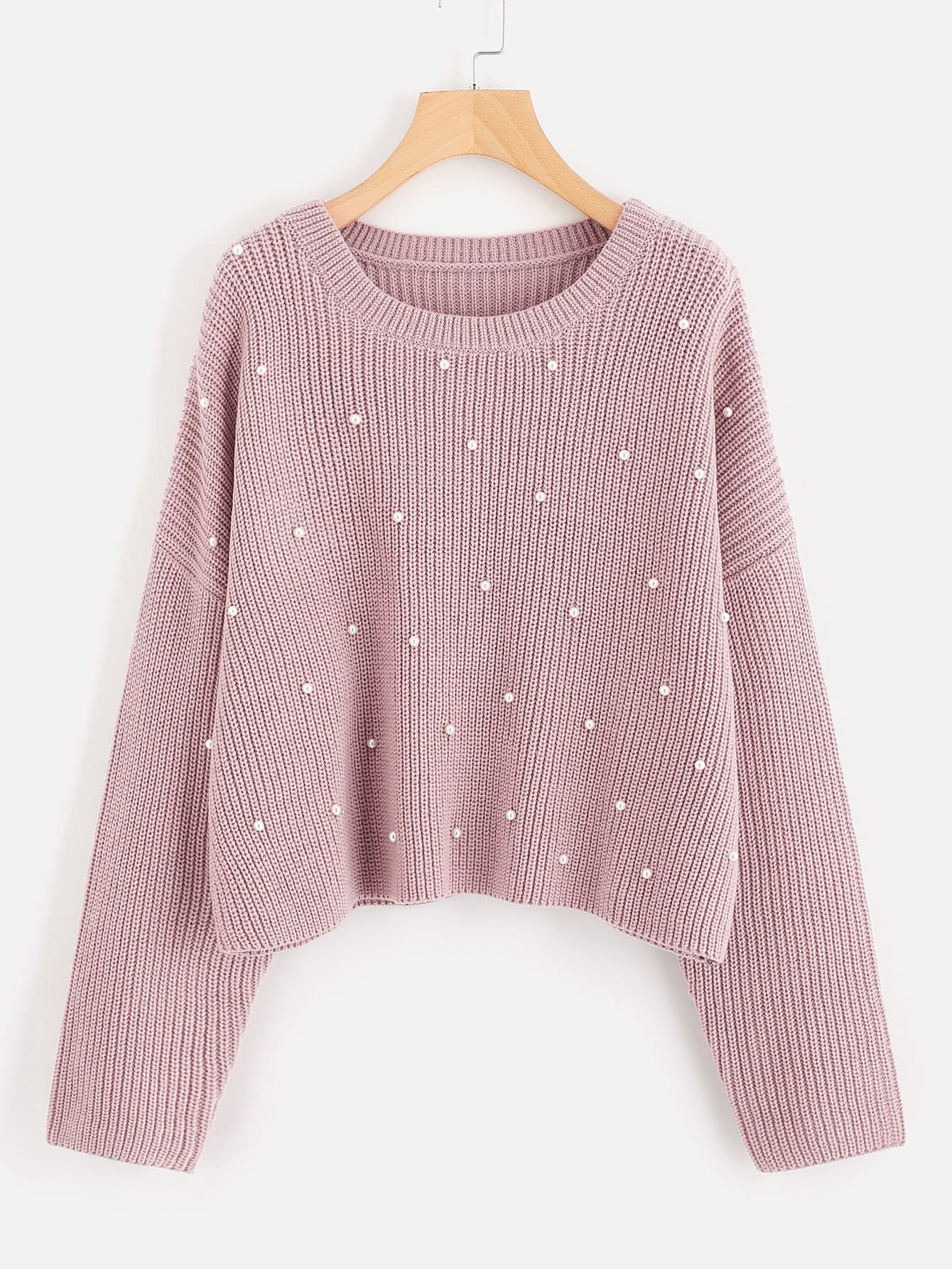 все цены на Drop Shoulder Pearl Beading Sweater
