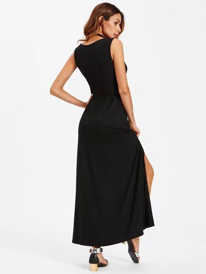 Romwe / Deep V Neck Pleated Waist Split Dress