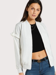 Ribbed Trim Ruffle Jacket