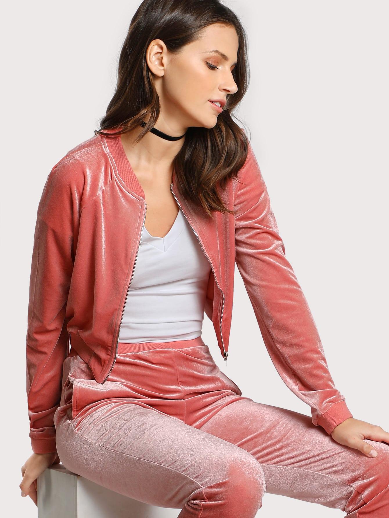 Velvet Zip Up Jacket MAUVE zip up jacket