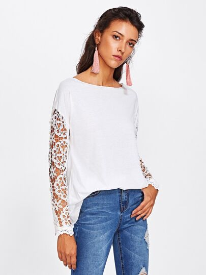 Hollow Out Crochet Insert Drop Shoulder Tee