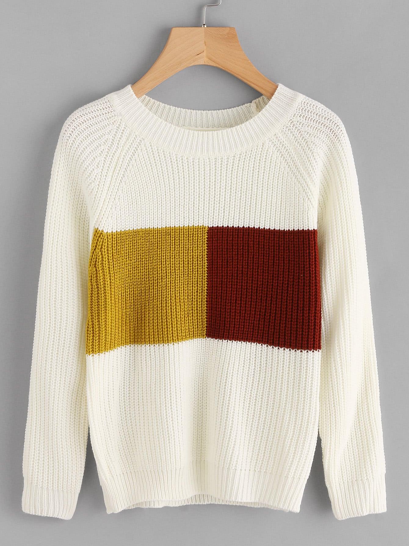 Contrast Panel Raglan Sleeve Chunky Knit Jumper sweater170906005