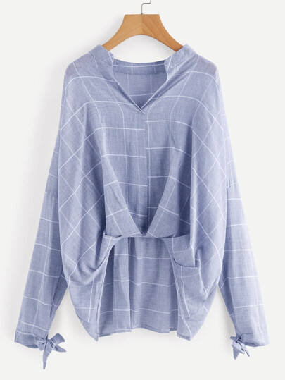 Grid Print Drop Shoulder Pleated Detail Blouse