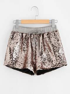 Sequin Drawstring Shorts