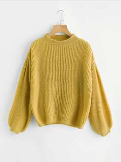 Drop Shoulder Lantern Sleeve Sweater