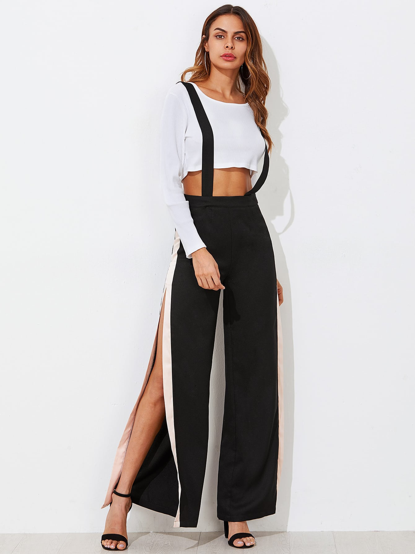 Image of Contrast Slit Side Wide Leg Pants With Strap