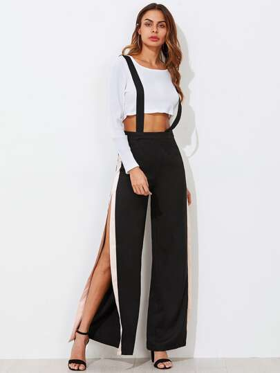 Contrast Slit Side Wide Leg Pants With Strap