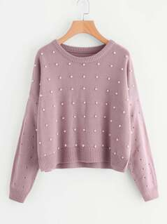 Drop Shoulder Pearl Embellished Eyelet Sweater