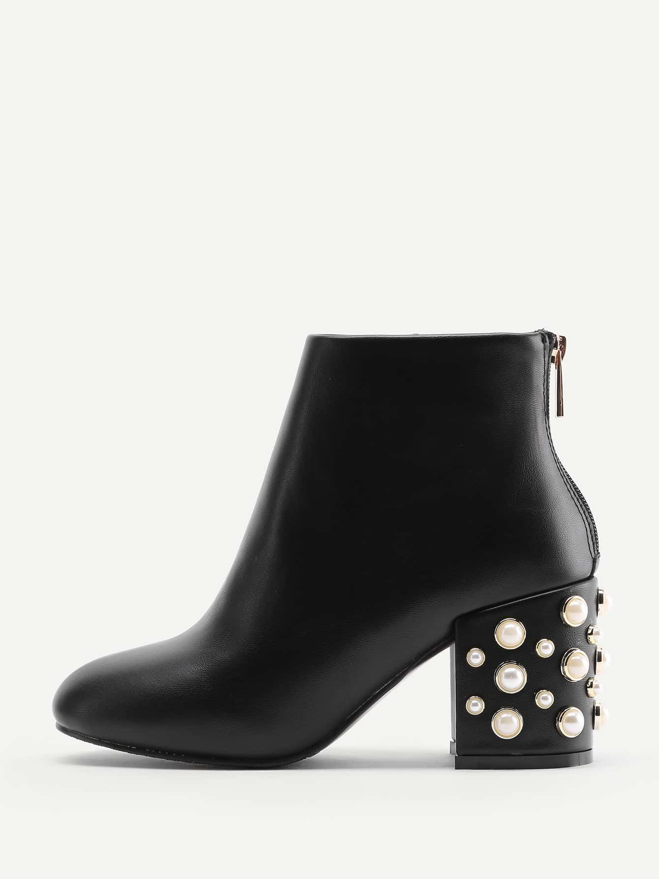 Faux Pearl Back Zipper PU Ankle Boots faux pearl t back