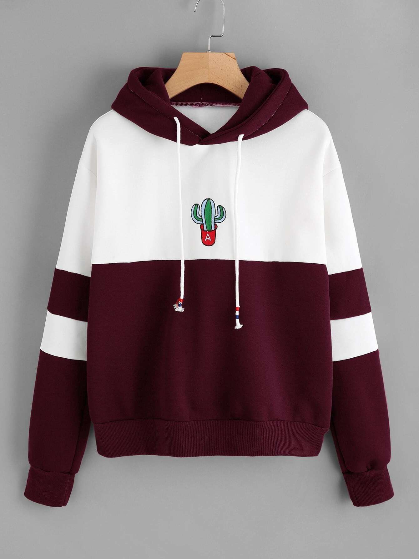 Color Block Cactus Embroidered Hoodie