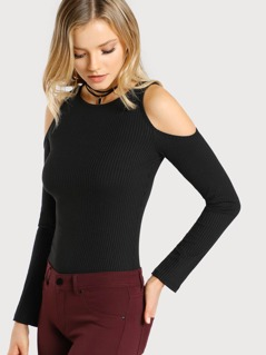 Open Shoulder Fluted Sleeve Velvet Tee
