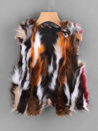 Sleeveless Open Front Fake Fur Coat