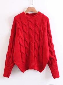 Cable Knit Drop Shoulder Jumper Sweater