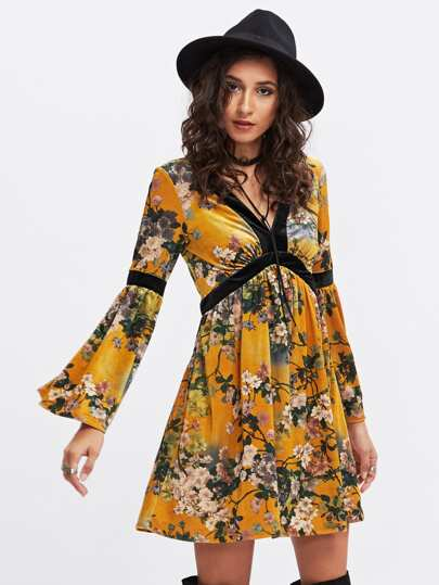 Trumpet Sleeve Contrast Panel Botanical Velvet Swing Dress