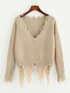 Drop Shoulder Fringe Trim Distressed Jumper