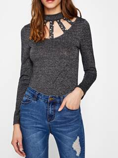 Pearl Beaded Caged Neck Marled Top