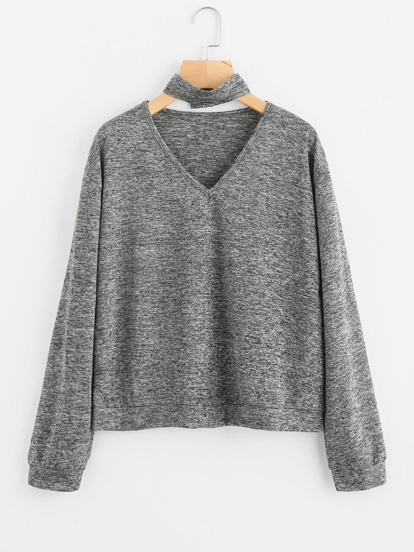 V Neckline Choker Detail Sweatshirt v neckline drop shoulder lantern sleeve sweatshirt