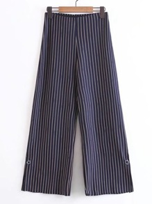 Slit Detail Wide Leg Striped Pants