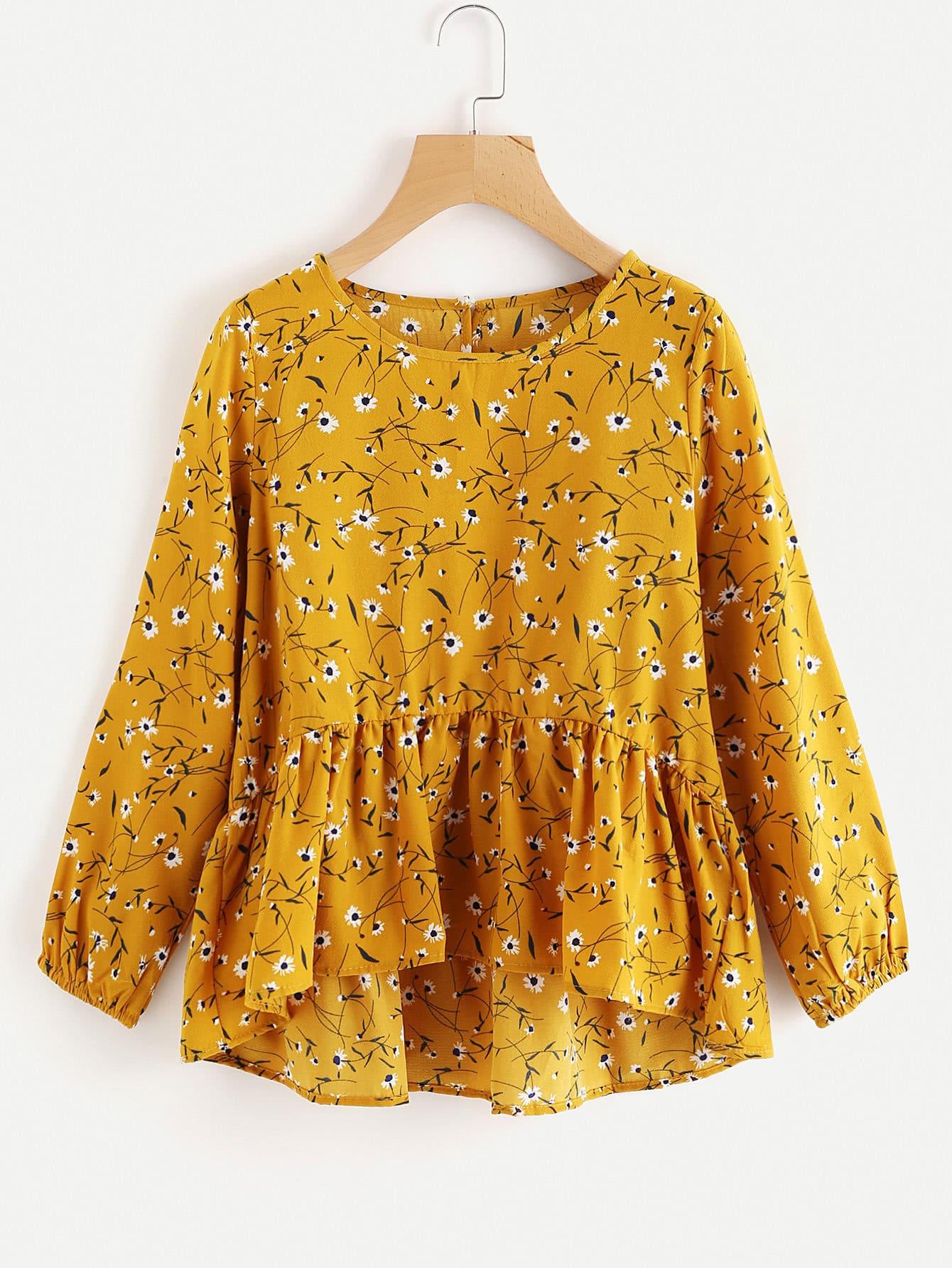 Купить Модная асимметричная блуза с принтом и оборкой, null, SheIn