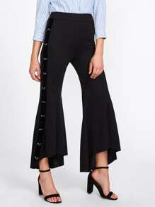 Ring Linked Flared Frill Hem Pants