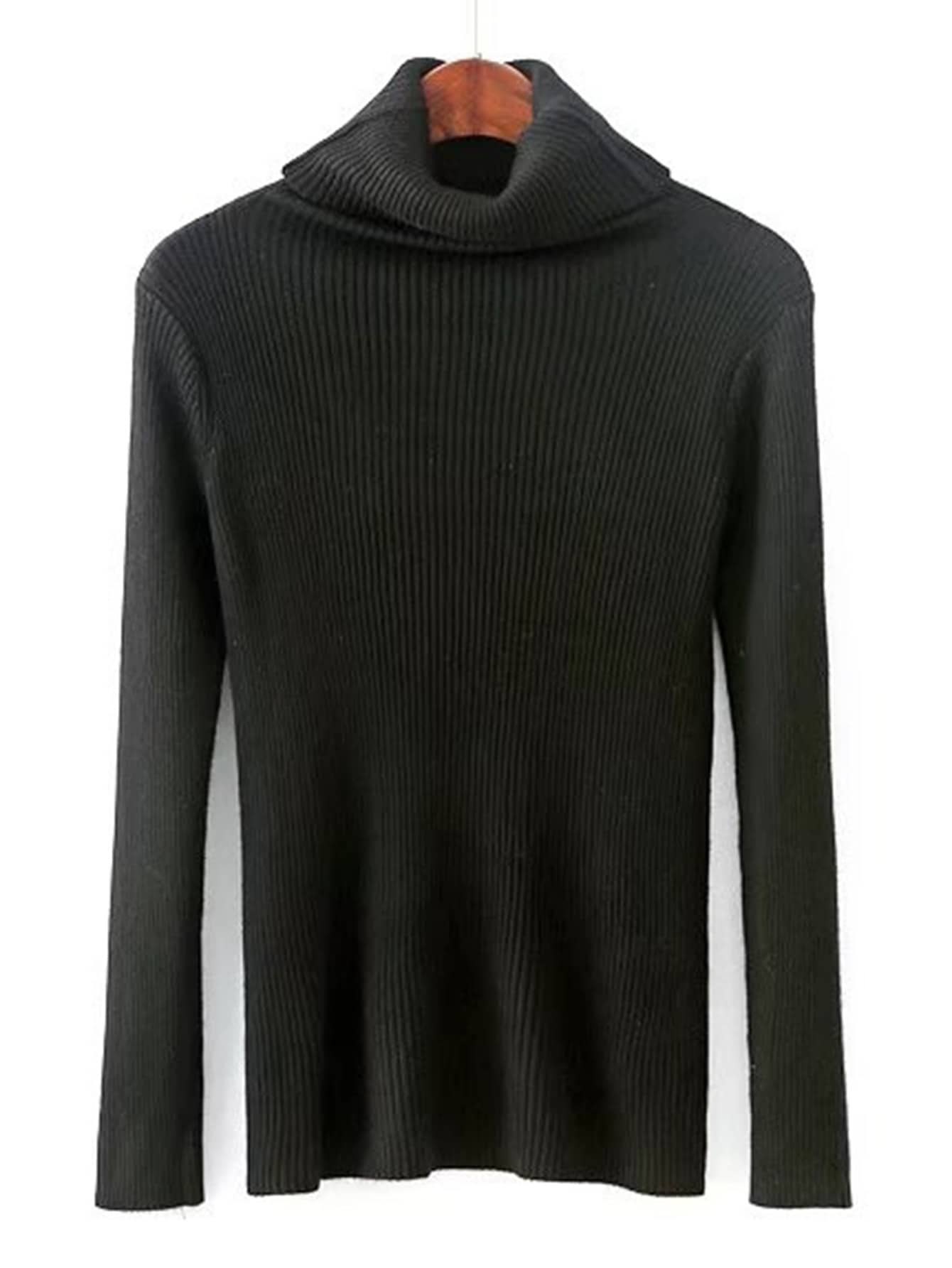 Ribbed Knit Turtleneck Knitwear sweater170927204