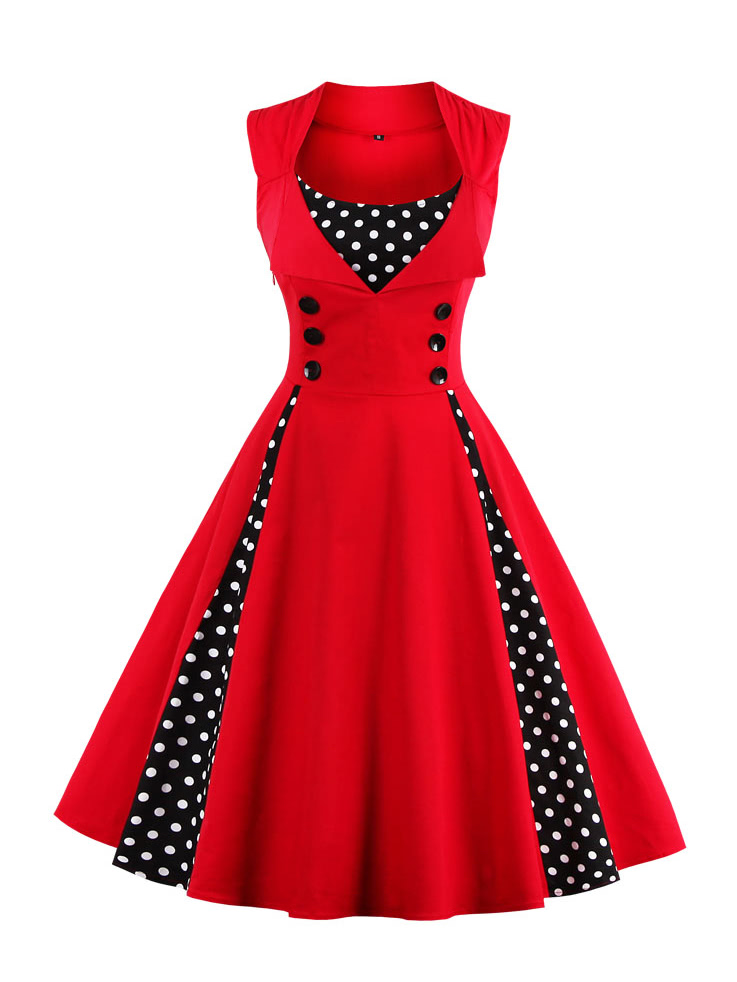 Contrast Polka Dot Flare Dress polka dot slit hem contrast dress