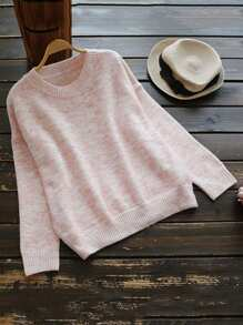 Drop Shoulder Marled Knit Sweater