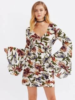 Tasseled Tie V Back Bell Sleeve Botanical Dress