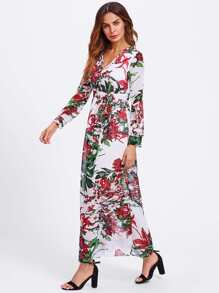 Random Botanical Print Self Tie Surplice Dress