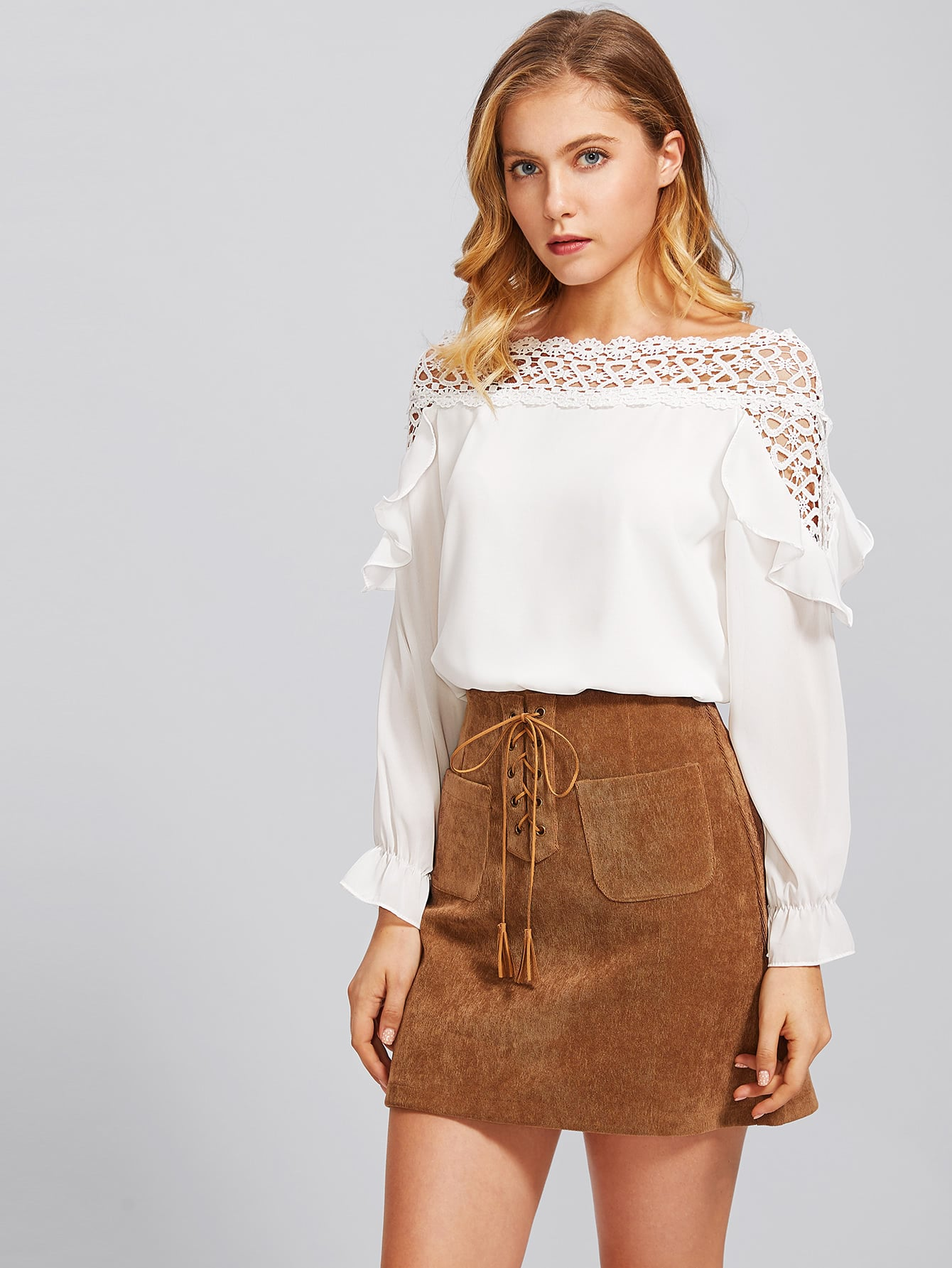 Hollow Out Crochet Insert Frill Top frill detail crochet insert embroidered mesh top