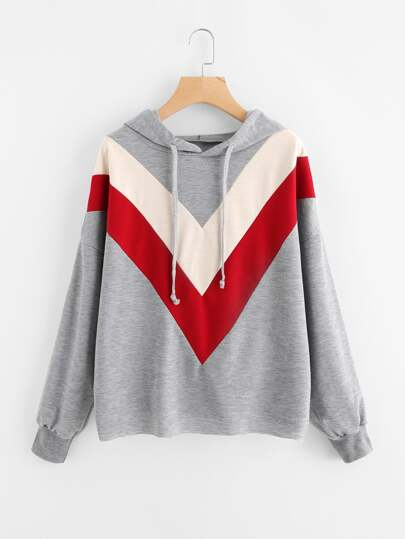 Hooded Color Block Sweatshirt