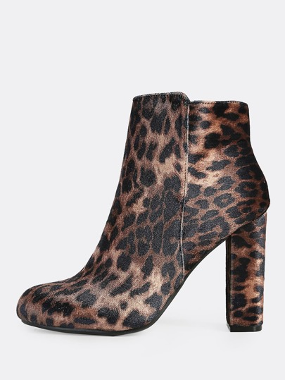 Leopard Print Zip Up Booties LEOPARD