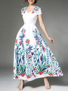 Botanical Print Full Length Dress