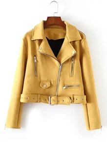 Oblique Zipper Belted Suede Jacket