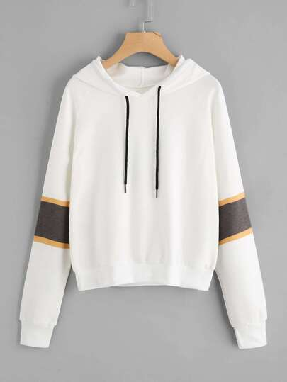 Contrast Striped Sleeve Hooded Sweatshirt