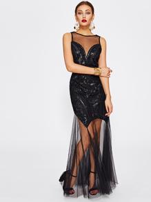Illusion Neckline Open Back Mesh Contrast Sequin Dress
