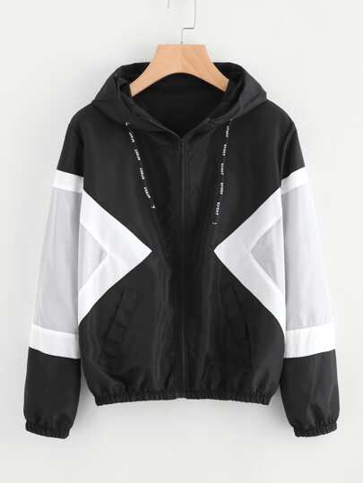 Contrast Panel Hooded Jacket