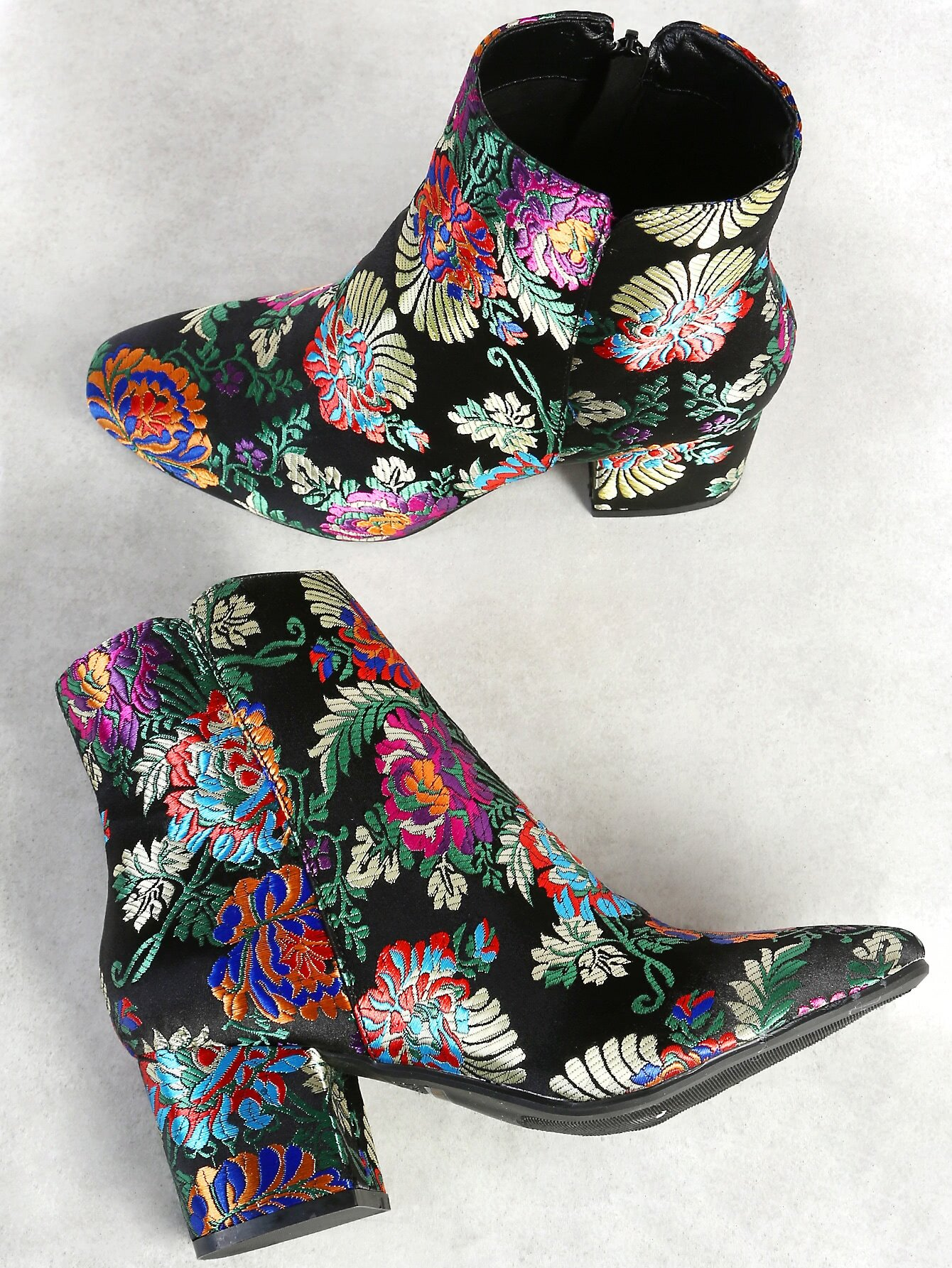 Floral Embroidered Zip Up Booties BLACK